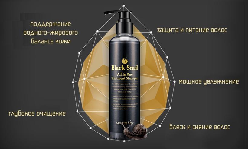 Secret Key Лечебный шампунь с экстрактом черной улитки - Secret Key Black Snail All in One Treatment Shampoo